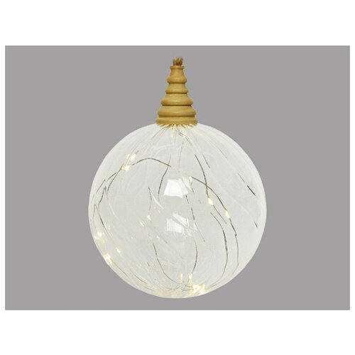 Светящееся украшение ФЛЮЙТЕД (Шар), прозрачный, 10 микро LED-огней, 12 см, таймер, батарейки, Kaemingk 488668