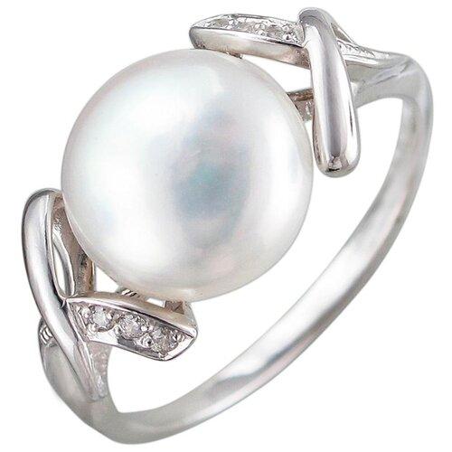 Эстет Кольцо с жемчугом, фианитами из серебра С15К351018, размер 18 ЭСТЕТ