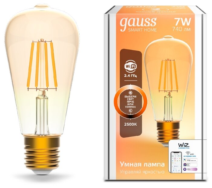 Лампа светодиодная gauss 1290112, E27, ST64, 7Вт фото 1