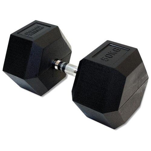 Гантель неразборная Original FitTools FT-HEX-50 50 кг хром/черный гантель гексагональная original fit tools обрезиненная хромированная ручка 2 кг ft hex 02