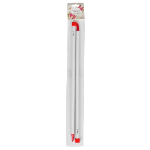 Спицы Арт Узор прямые 2610008, диаметр 10 мм, длина 40 см, белый/красный