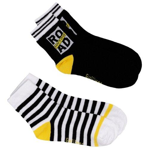 Носки Gulliver Baby комплект 2 пары размер 26-28, черный/белый/желтый