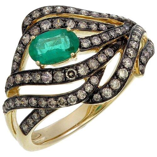 Фото - Sargon Jewelry Кольцо с бриллиантами и изумрудом из жёлтого золота R1171-2024, размер 17.5 sargon jewelry кольцо с изумрудом и бриллиантами из жёлтого золота r1312 2010 размер 16 5