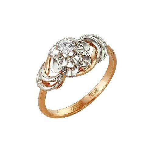 Мастер Бриллиант Кольцо Цветок с 1 бриллиантом из красного золота 1-105-70, размер 19