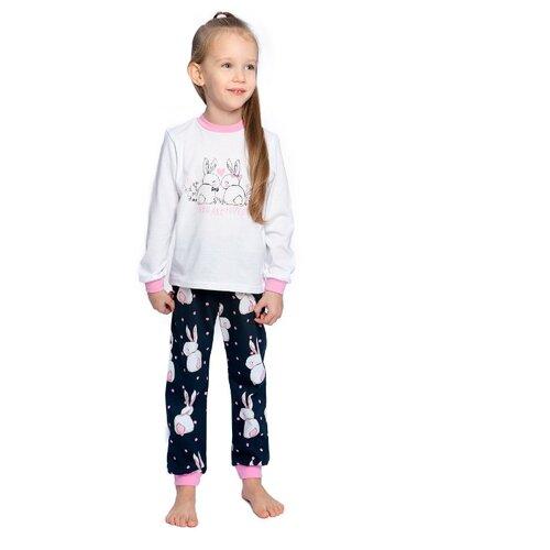 Купить Пижама Веселый Малыш размер 98, белый/черный/розовый, Домашняя одежда