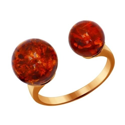 SOKOLOV Кольцо из золочёного серебра с коричневым янтарём (пресс.) 93010540, размер 19 кольца sokolov 93010540 s