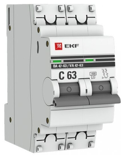 Автоматический выключатель EKF ВА 47-63 2P (C) 4,5kA