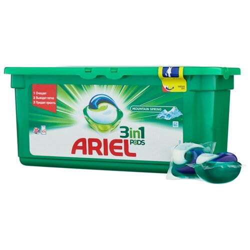 Капсулы Ariel PODS 3-в-1 Горный родник, контейнер, 30 шт