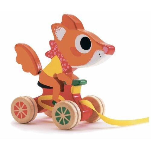 Купить Каталка-игрушка DJECO Лисенок (06224) оранжевый/красный/желтый, Каталки и качалки