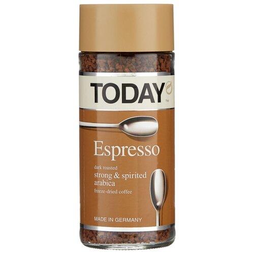 Кофе растворимый Today Espresso сублимированный, стеклянная банка, 95 г набор today in fi ineo кофе растворимый 95 г today pure arabica кофе растворимый 37 5 г