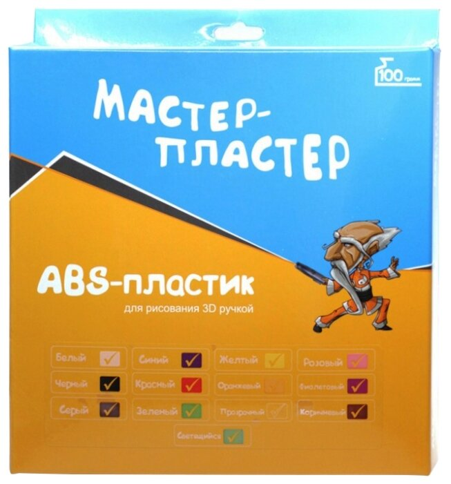 ABS пруток Мастер Пластер 1.75 мм 13 цветов 0.1 кг фото 1
