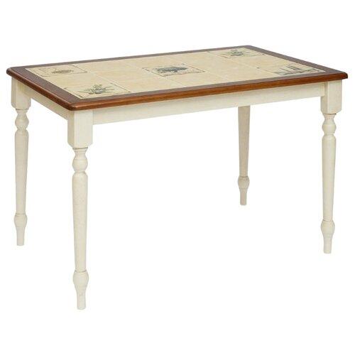 Стол кухонный TetChair CT 3045P, ДхШ: 115 х 76 см, античный белый/тёмный дуб/рисунок прованс