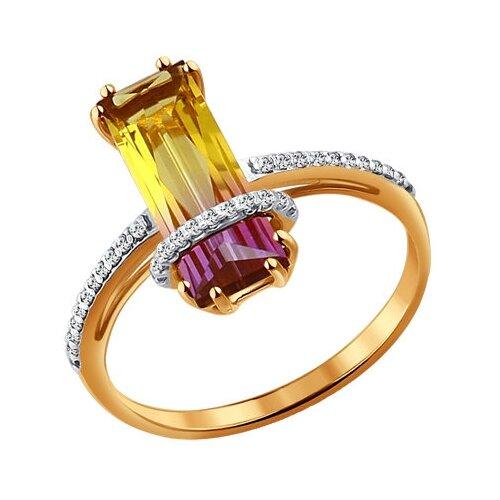 SOKOLOV Золотое кольцо с ситаллом аметрин 713932, размер 18 золотое кольцо ювелирное изделие 01k626002