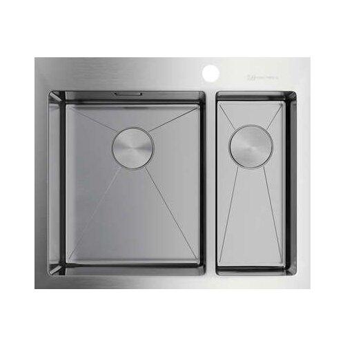 Фото - Врезная кухонная мойка 60.5 см OMOIKIRI Akisame 60-2 IN-L нержавеющая сталь врезная кухонная мойка 65 см omoikiri akisame 65 in r нержавеющая сталь