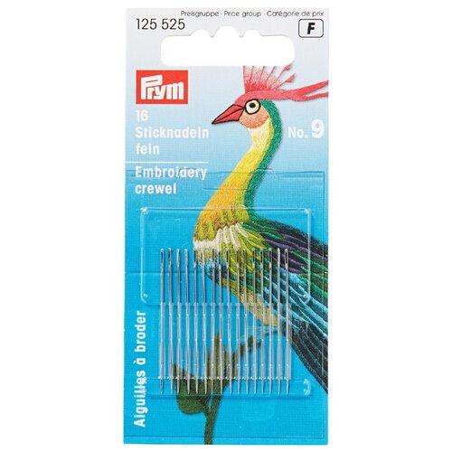 Купить Набор игл ручных Prym 125525 тонкие для вышивки, 0, 60 x 35мм, серебристый, N9, 16 шт., Иглы