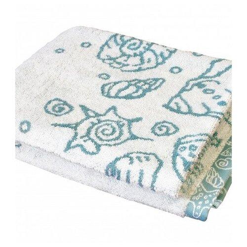 ДеНАСТИЯ Полотенце Ракушки банное 70х130 см молочный/голубой полотенце банное ecotex авеню голубой серый