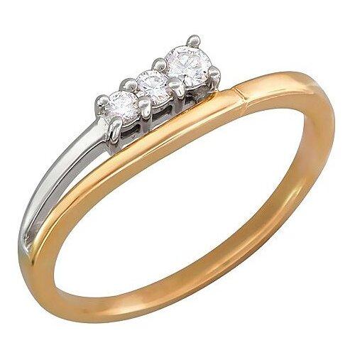 Эстет Кольцо с 3 бриллиантами из комбинированного золота 01К662079, размер 16.5