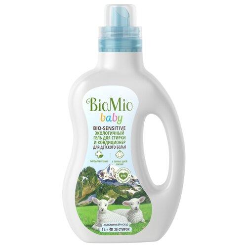 Гель BioMio Bio-Sensitive Baby Экологичный гель для стирки и кондиционер для детского белья, 1 л, бутылка гель biomio bio sensitive baby экологичный гель для стирки и кондиционер для детского белья 1 л бутылка