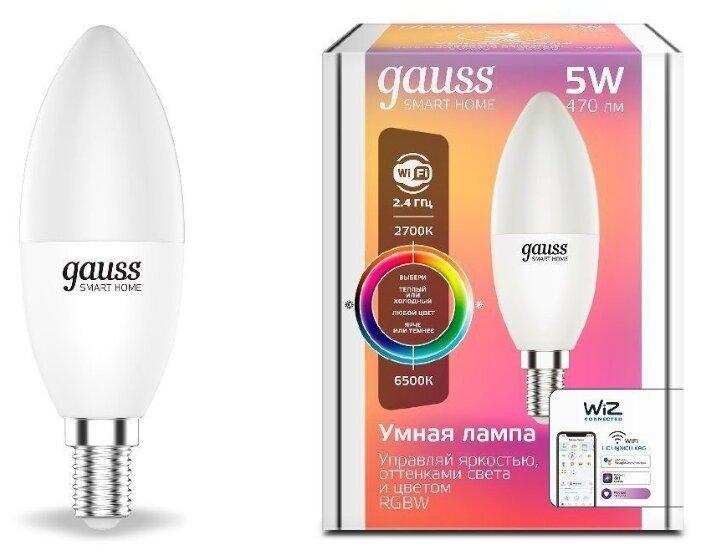 Лампа светодиодная gauss 1190112, E14, C37, 5Вт фото 1