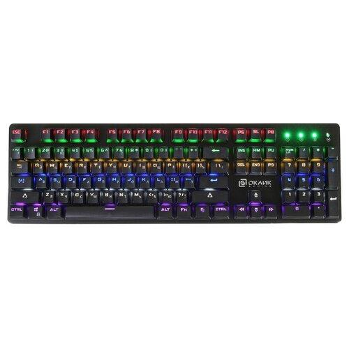Клавиатура Oklick 990G RAGE механическая черный USB Multimedia for gamer LED