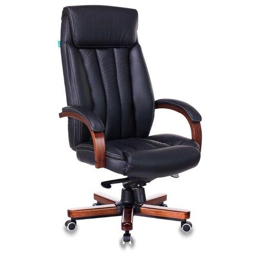 Компьютерное кресло Бюрократ T-9922WALNUT для руководителя, обивка: натуральная кожа, цвет: черный компьютерное кресло бюрократ t 9927walnut low для руководителя обивка натуральная кожа цвет черный