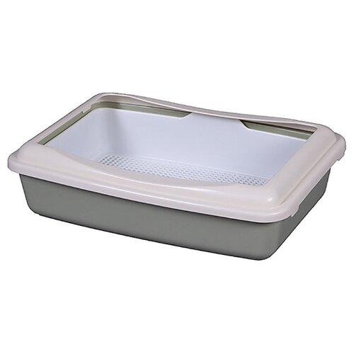 Туалет-лоток для кошек Шурум-бурум 1КУТ00052 41х30х11 см серый/белый 1 шт.