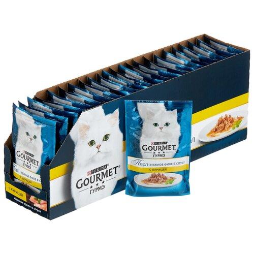 Корм для кошек Gourmet Перл с курицей 24шт. х 85 г (кусочки в соусе) корм для кошек gourmet перл с говядиной 24шт х 85 г кусочки в соусе