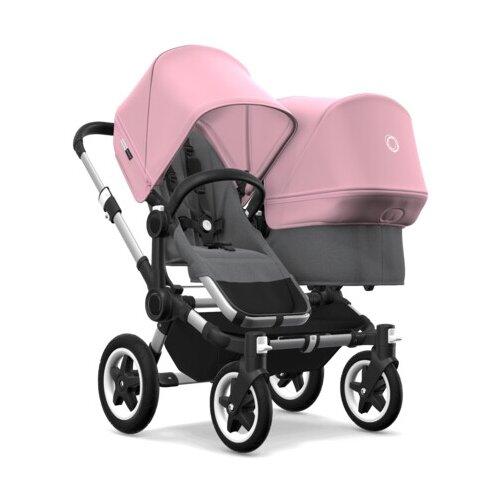 Универсальная коляска Bugaboo Donkey 2 Duo (2 в 1) Alu/Grey melange/Soft pink, цвет шасси: серебристый