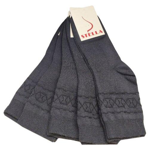 Комплект женских носков из хлопка темно-серого цвета, 5 шт, р-р35-37
