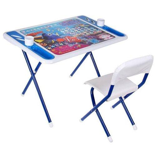 Купить Комплект ДЭМИ стол + стул Damibaby evro В поисках Немо 80x55 см белый/синий, Парты и столы