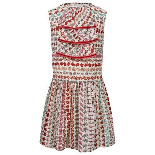 Платье GUCCI размер 140, кремовый/цветочный принт