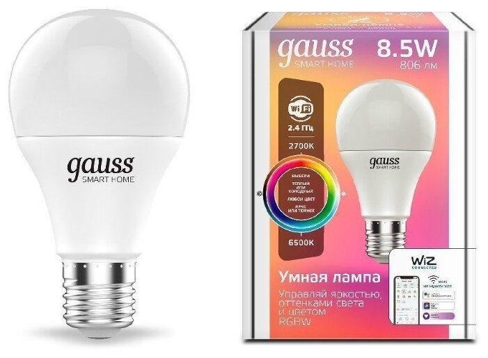 Лампа светодиодная gauss 1170112, E27, A60, 8.5Вт фото 1