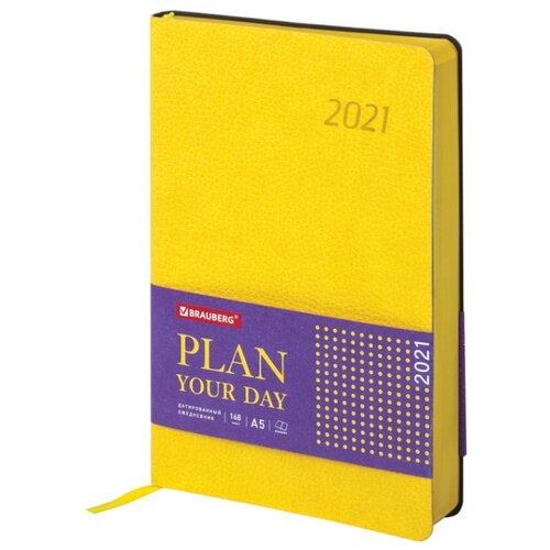 Ежедневник BRAUBERG Stylish датированный на 2021 год, искусственная кожа, А5, 168 листов, желтый, Ежедневники, записные книжки  - купить со скидкой