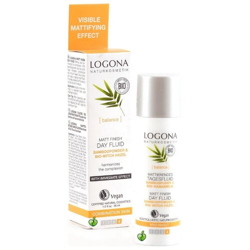 купить Logona Matt Finish Day Fluid матирующий финишный дневной флюид для лица с био-бамбуком и био-гамамелисом, 30 мл в интернет-магазине
