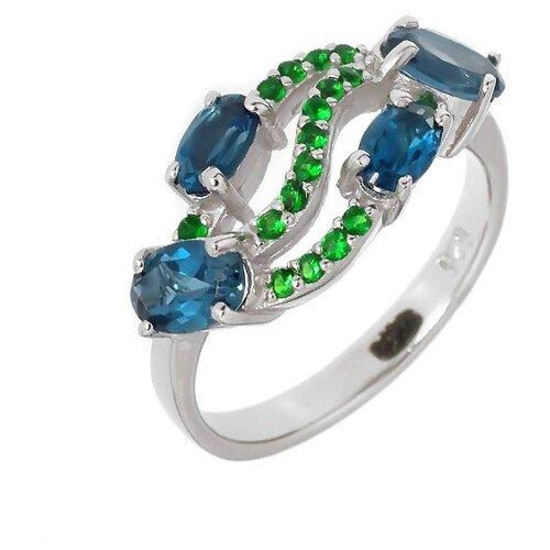 Фото - Balex Кольцо 1405936312 из серебра 925 пробы с топазом Лондон и изумрудом синтетическим, размер 17 element47 кольцо из серебра 925 пробы с топазами лондон r32560h 7 ko lt wg размер 17 25