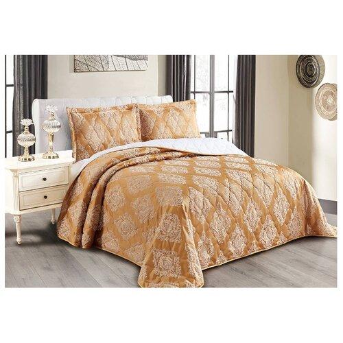 Комплект с покрывалом Cleo Versailles 240х260 см, горчичный комплект с покрывалом cleo versailles 240х260 см коричневый