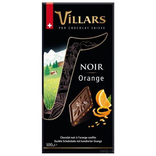 Шоколад Villars Noir Orange темный с цукатами из апельсиновых корочек, 100 г