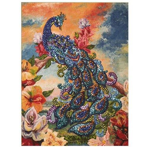 Купить Волшебная Мастерская Мозаика из пайеток на холсте Павлин МХ-09, Картины из пайеток