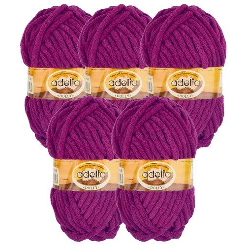 Купить Пряжа Adelia Dolly однотонная, 100 % полиэстер, 100 г, 40 м, 5 шт., №29 т. фиолетовый
