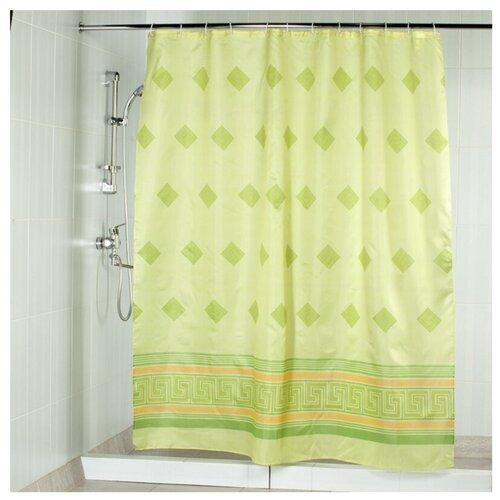Штора для ванной Aquarius Ромбы 180х200 зеленый штора для ванной joyarty глаз в цветочном узоре 180х200 sc 19372