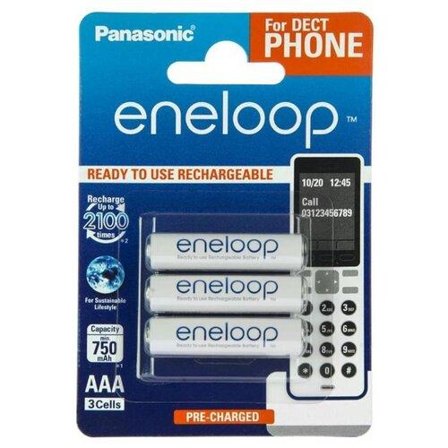Аккумулятор Ni-Mh 750 мА·ч Panasonic eneloop DECT AAA, 3 шт. аккумулятор ni mh 550 ма·ч panasonic eneloop lite dect aaa 3 шт блистер