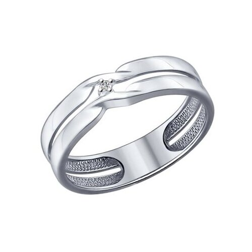 SOKOLOV Кольцо из серебра с бриллиантом 87010014, размер 19.5 по цене 2 390