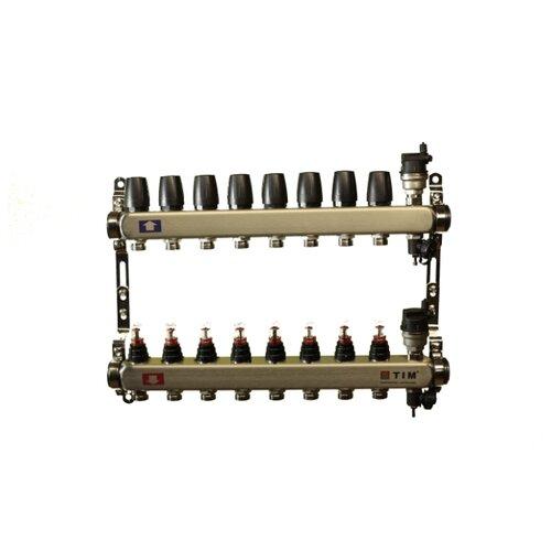 Коллекторная группа Tim (KCS5008) 1 ВР-ВР, 8 отводов 3/4, расходомер, воздухоотводчик, сливной кран коллекторная группа royal thermo в сборе с расходомерами 1 вр 3 4 нр 9 выходов нержавеющая сталь rte 52 109