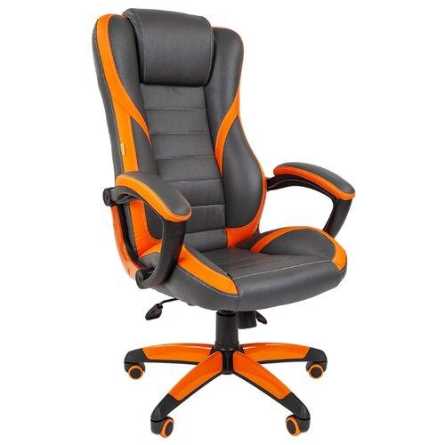 Компьютерное кресло Chairman GAME 22, обивка: искусственная кожа, цвет: серый/оранжевыйКомпьютерные кресла<br>
