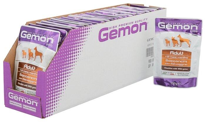Корм для собак Gemon Кусочки с дичью. Влажный корм для собак (0.1 кг) 24 шт.