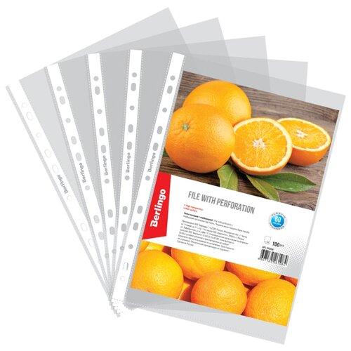 Купить Berlingo Файл-вкладыш Апельсиновая корка А4, матовый с перфорацией, 60 мкм, 100 штук бесцветный, Файлы и папки