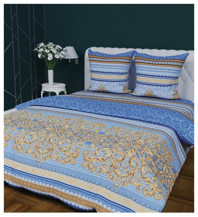 Постельное белье 2-спальное с евро простыней Текстильная лавка Королевский 70 x 70 бязь синий