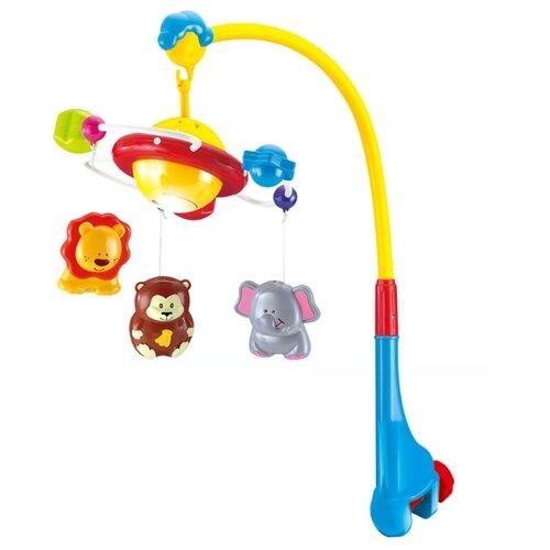 Купить Электронный мобиль Junfa toys Веселые животные SL81017A голубой/желтый/красный, Мобили