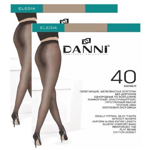Колготки DANNI Elegia 40 den, размер 4, загар (коричневый), 2 пары колготки женские золотая грация шансон 20 цвет загар размер 4 46