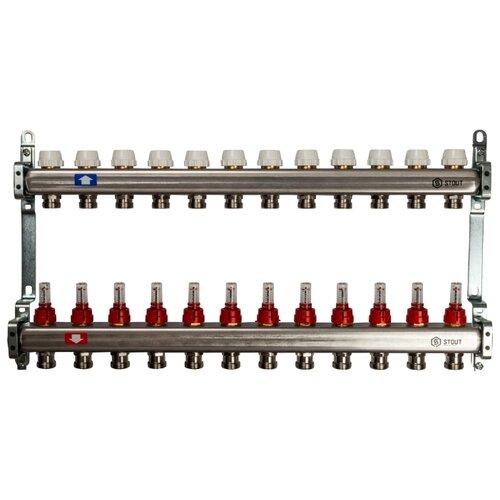 Коллекторная группа STOUT (SMS 0917 000012) 1 ВР, 12 отводов 3/4, расходомер коллекторная группа royal thermo в сборе с расходомерами 1 вр 3 4 нр 9 выходов нержавеющая сталь rte 52 109